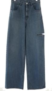 side cut-off denim pants (foggy blue) デニムパンツ
