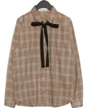 MILD CHECK RIBBON TIE BLOUSE
