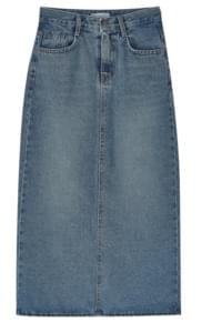 back slit denim skirt