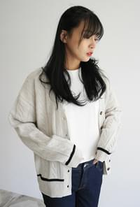 Girlish mood button cardigan