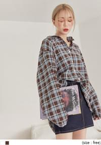 [TOP] MUSK TARTAN CHECK BOXY SHIRTS