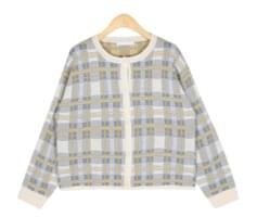 charming check mini cardigan