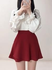 Exclusive ♥ Red Wine Flared Skirt Pants