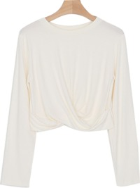 Twist cropped round neck T-shirt