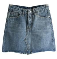 Able vintage cut denim mini skirt