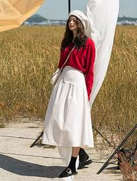 banding cotton flare long skirt