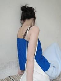 combine texture cropped sleeveless (3colors)