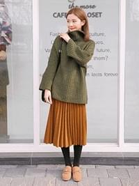 Long-bending wool pleated tosum skirt