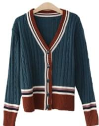 Colored twill cardigan