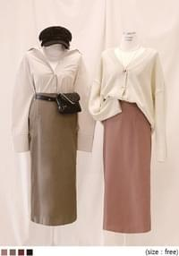 [SKIRT] LINE SLIT BANDING LONG SKIRT