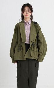 button cover military jumper (2colors)