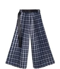 ACIDITY - BELTED CHECK PLEATS PANTS (NAVY)