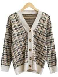 Humming Hound Check Knit Cardigan