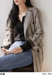 [OUTER] WOOL CHECK DOUBLE LONG COAT