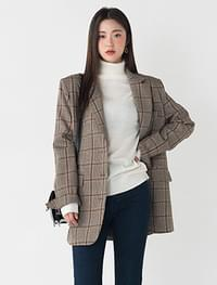 over fit three button check jacket