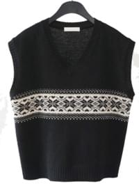 poinsettia line wool vest (2colors)