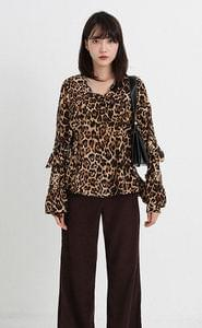leopard frill blouse (2colors)
