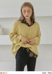 [TOP] SOFT BALLOON WOOL V NECK KNIT