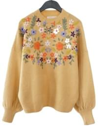 embroidery flowers knit (2colors)
