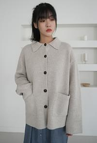 Girlish knit button jacket