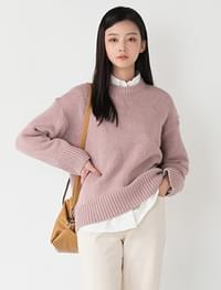 Pastel color round neck wool knit