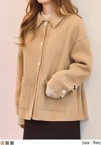 [OUTER] BIG POCKET SHORT COLLAR COAT