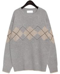 LOLLY ARGYLE ROUND NECK KNIT