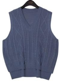 6 COLOR TWIST SLIT KNIT VEST