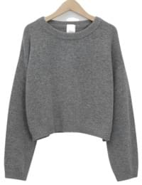 Blush wool crop knit_S (울 80%) (size : free)