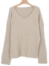 queen v-neck loose knit (3colors)