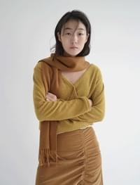 V-wrap knit top (mustard)
