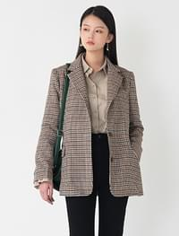 classic check pattern jacket classic hound check woolen jacket