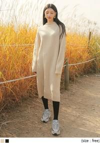 FORMING SLIT WOOL LONG KNIT OPS