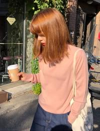 Breeze soft half_neck knit (size : free)