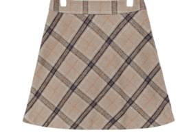 Wool Blend Check Mini Skirt