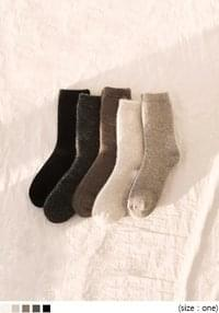 Ribbed Cuff Angora Blend Socks