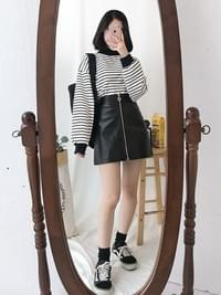 Awesome Heart Zipper Leather Skirt