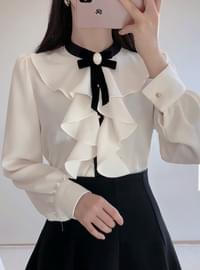 Order rush ♥ brooch set ♥ shiny ruffle blouse