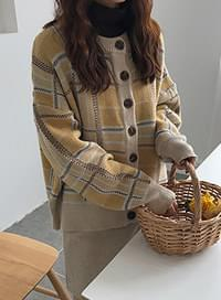 Flannel check knit cardigan