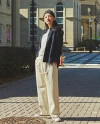 marine wide cotton pants (s, m)
