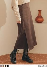 SLIT BANDING COTTON LONG SKIRT