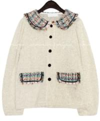 TWEED COLLAR POINT KNIT CARDIGAN