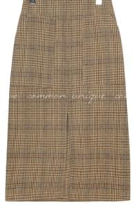 CHECK WOOL BANDING MIDI SKIRT
