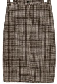 MIX CHECK BANDING MIDI SKIRT