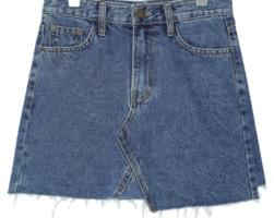 UNBAL CUTTING DENIM MINI SKIRT