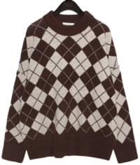 RED VELVET ARGYLE ROUND KNIT