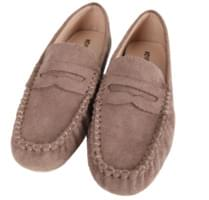 Round suede loafers