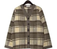 TOY WOOL CHECK CARDIGAN