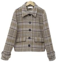 Minuet check short coat_K (울 30%) (size : free)