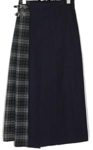 check block long skirt (2colors)